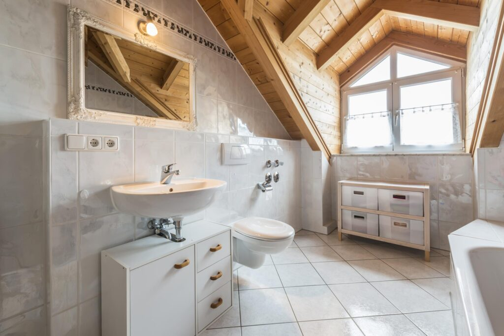 bathroom with white tiles